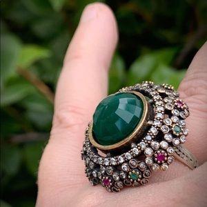 Vintage Jewelry - ROYAL JEWELS VINTAGE EMERALD RUBY RING 8.5